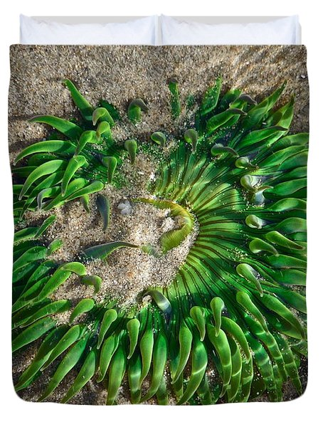 Green Sea Anemone Duvet Cover