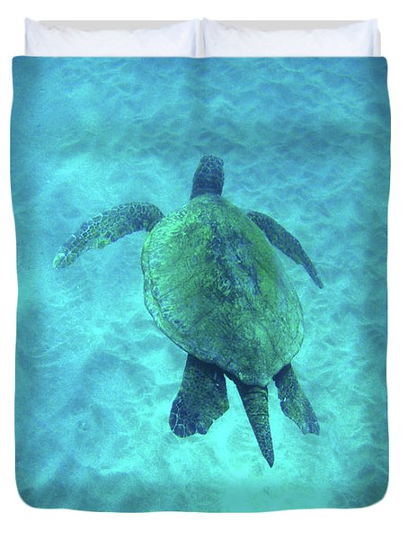 Green Sea Turtle 2 Duvet Cover by Bob Christopher