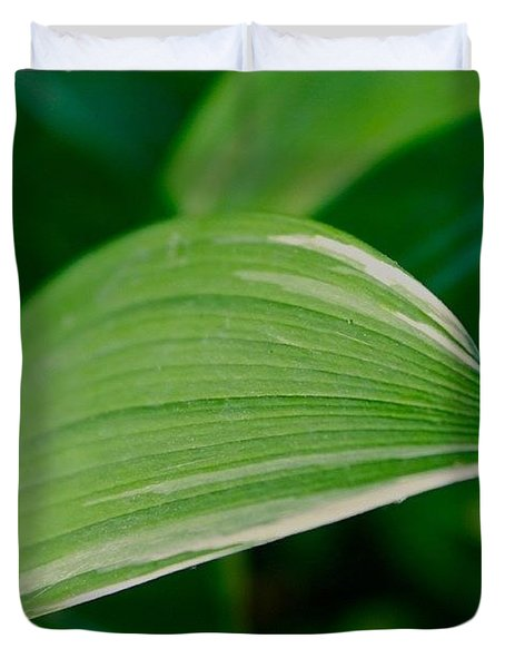Green And White Leaf Duvet Cover