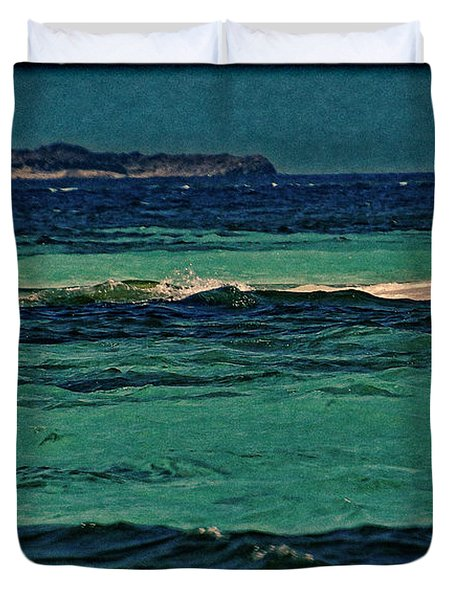 Duvet Cover featuring the photograph Grenadines Umbrella by Don Schwartz