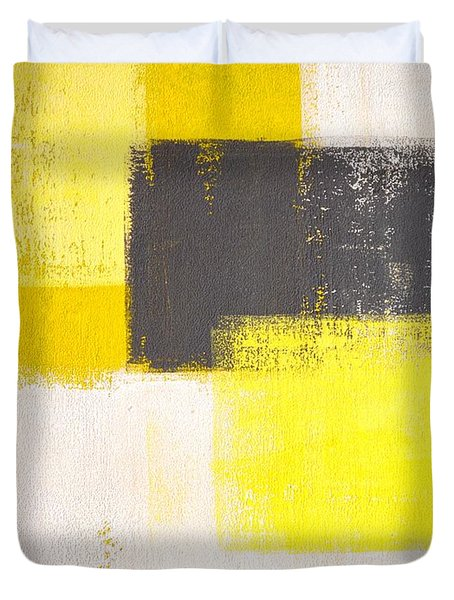 Simply Modern - Grey And Yellow Abstract Art Painting Duvet Cover