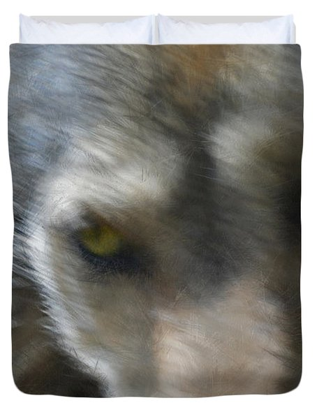Grey Wolf Painterly Duvet Cover by Ernie Echols