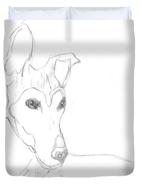 Duvet Cover featuring the drawing Greyhound by George Pedro