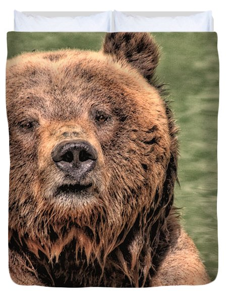Grizz With Stick Duvet Cover by Karol Livote