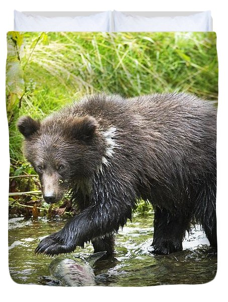 Grizzly Cub Catching Fish In Fish Creek Duvet Cover by Richard Wear