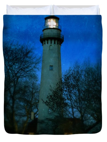 Grosse Point Lighthouse Before Dawn Duvet Cover
