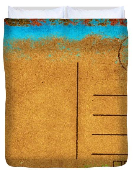 Grunge Color On Old Postcard Duvet Cover by Setsiri Silapasuwanchai