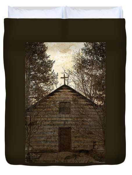 Grungy Hand Hewn Log Chapel Duvet Cover