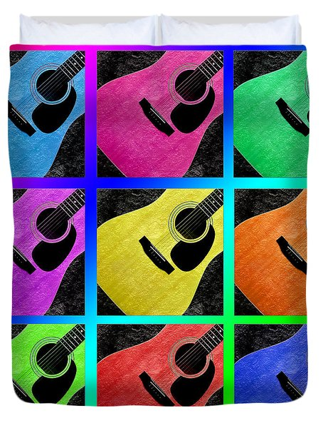 Guitar Tic Tac Toe Rainbow Duvet Cover by Andee Design