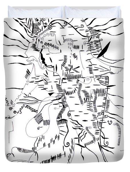 Duvet Cover featuring the drawing Gule Wamkulu - Malawi by Gloria Ssali
