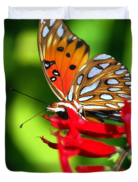Gulf Fritillary Duvet Cover by Skip Willits