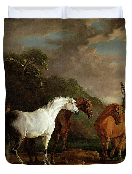 Gulliver Taking His Final Leave Of The Land Of The Houyhnhnms Duvet Cover by Sawrey Gilpin
