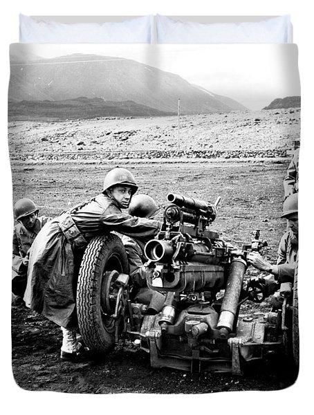 Gun Crew Prepares To Fire A 37mm Duvet Cover by Stocktrek Images
