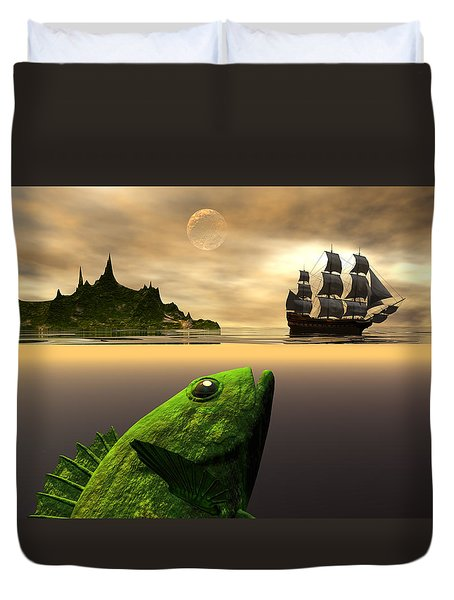 Duvet Cover featuring the digital art Gustatory Anticipation by Claude McCoy