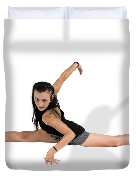 Gymnast Does The Splits  Duvet Cover by Ilan Rosen