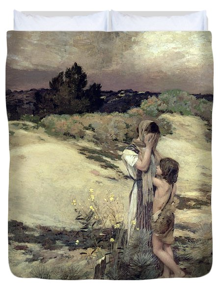 Hagar And Ishmael Duvet Cover by Jean-Charles Cazin