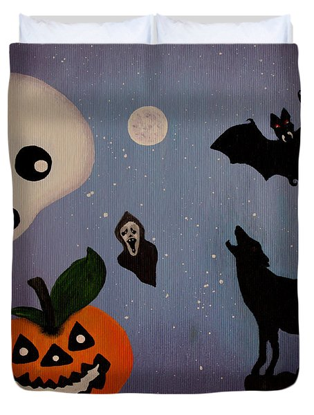Halloween Night Original Acrylic Painting Placemat Duvet Cover by Georgeta  Blanaru