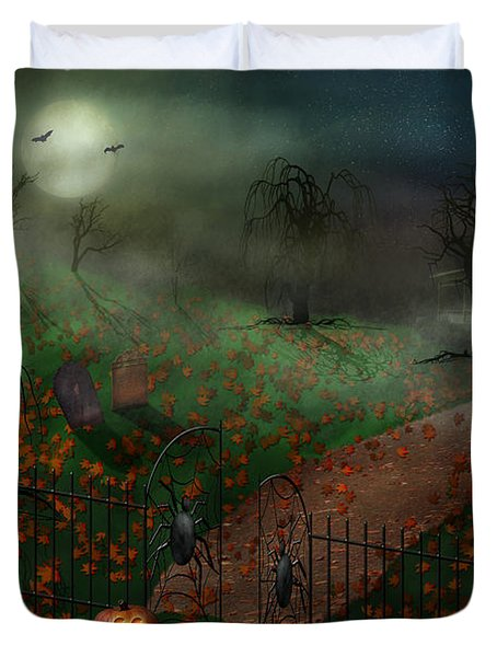 Halloween - One Hallows Eve Duvet Cover by Mike Savad