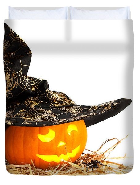 Halloween Pumpkin With Witches Hat Duvet Cover by Amanda Elwell