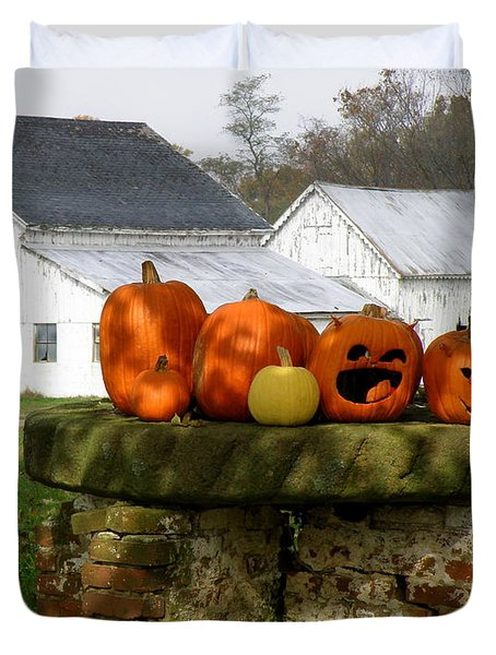 Duvet Cover featuring the photograph Halloween Scene by Lainie Wrightson