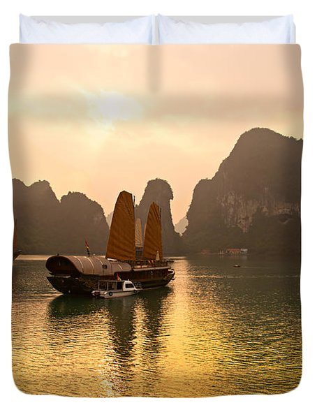 Duvet Cover featuring the photograph Halong Bay - Vietnam by Luciano Mortula