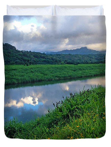 Hanalei River Reflections Duvet Cover by Kathy Yates