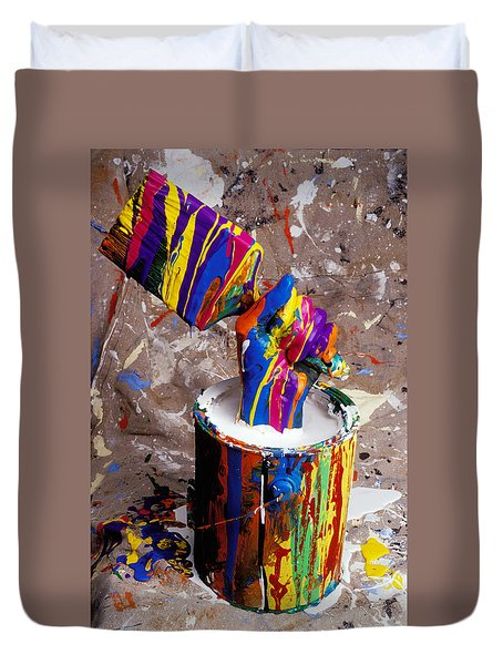 Hand Coming Out Of Paint Bucket Duvet Cover by Garry Gay