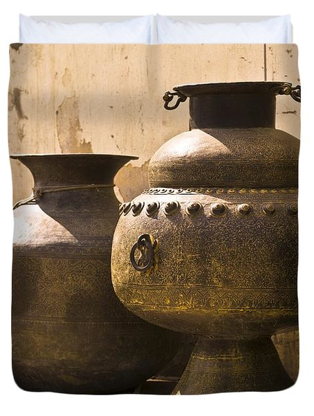 Hand Crafted Jugs, Jaipur, India Duvet Cover by Keith Levit
