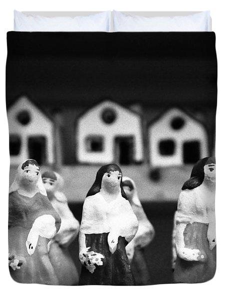 Handpainted Figurines Duvet Cover by Gaspar Avila