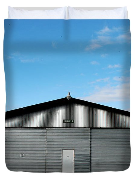 Duvet Cover featuring the photograph Hangar 2 The Building by Kathleen Grace