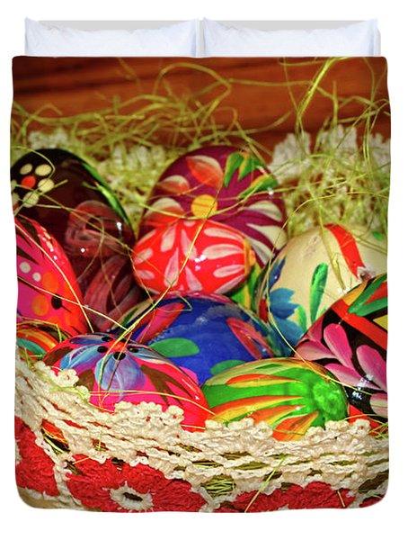 Happy Easter Basket Duvet Cover by Mariola Bitner