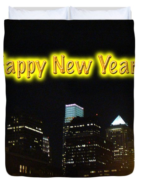 Happy New Year Greeting Card - Philadelphia At Night Duvet Cover by Mother Nature