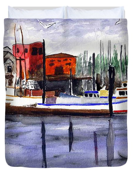 Duvet Cover featuring the painting Harbor Fishing Boats by Chriss Pagani