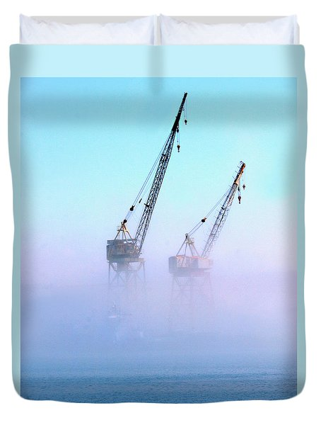 Duvet Cover featuring the photograph Harbor Fog With Cranes by Joe Schofield