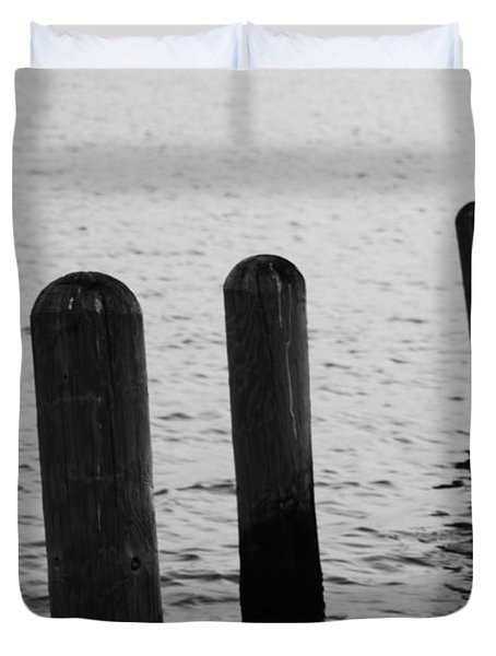Duvet Cover featuring the photograph Harbor Ties by Tony Cooper