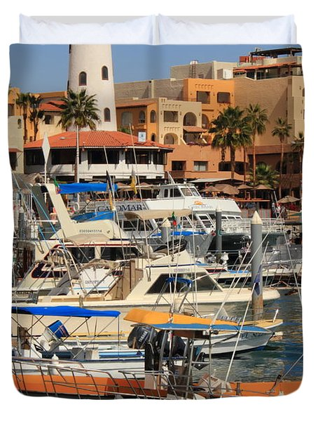 Harbor Waterfront In Cabo San Lucas Duvet Cover by Roupen  Baker