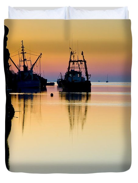 Duvet Cover featuring the photograph Harbour Sunrise by Trevor Chriss