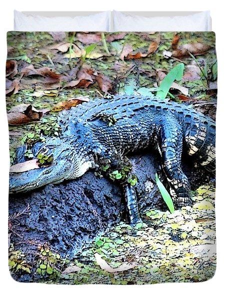 Hard Day In The Swamp - Digital Art Duvet Cover by Carol Groenen