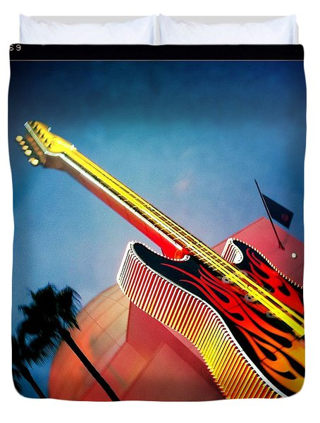 Duvet Cover featuring the photograph Hard Rock Guitar by Nina Prommer