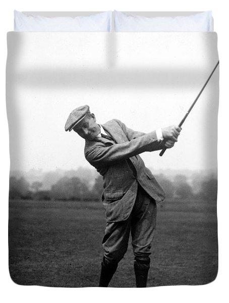 Duvet Cover featuring the photograph Harry Vardon Swinging His Golf Club by International  Images