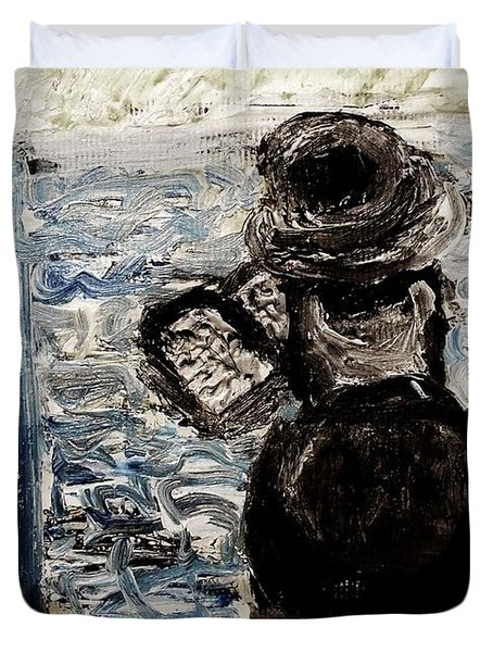 Duvet Cover featuring the painting Hassid Rabbi Praying At Kotel Western Wall Israel Jerusalem Gold Daven Religious Jewish Cultural by M Zimmerman