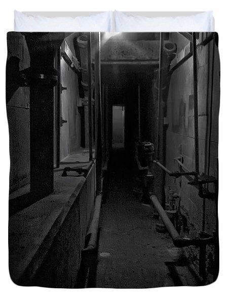 Haunted 1946 Battle Of Alcatraz Death Chamber Duvet Cover by Daniel Hagerman
