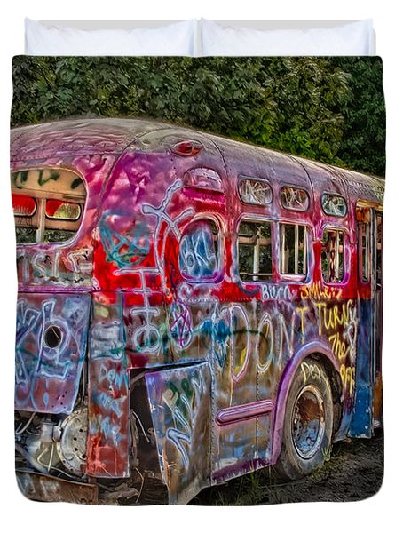 Haunted Graffiti Bus II Duvet Cover by Susan Candelario