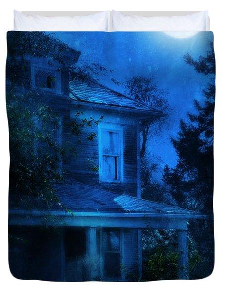 Haunted House Full Moon Duvet Cover by Jill Battaglia