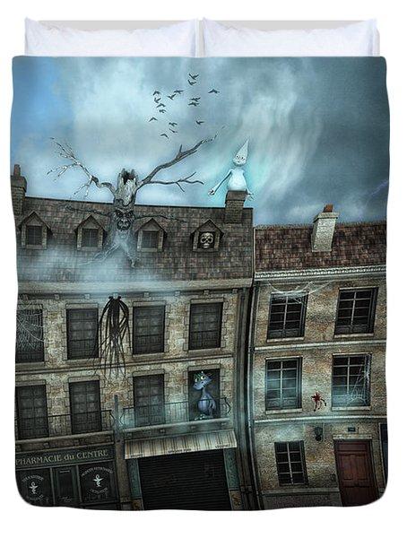 Haunted House Duvet Cover by Jutta Maria Pusl