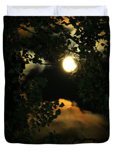 Duvet Cover featuring the photograph Haunting Moon by Jeanette C Landstrom