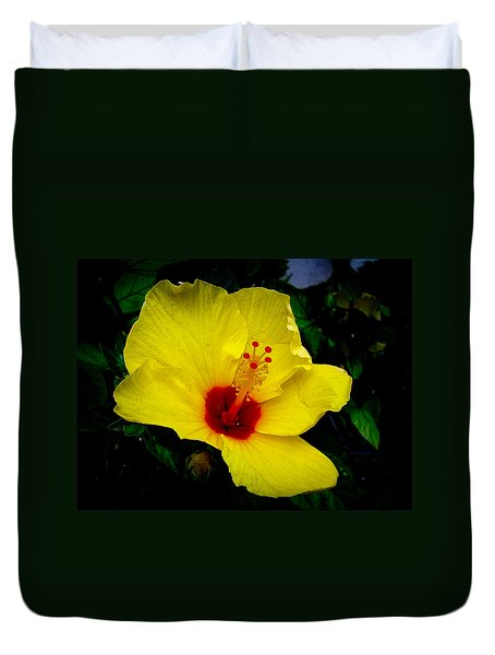 Hawaiian Yellow Hibiscus Duvet Cover by Athena Mckinzie