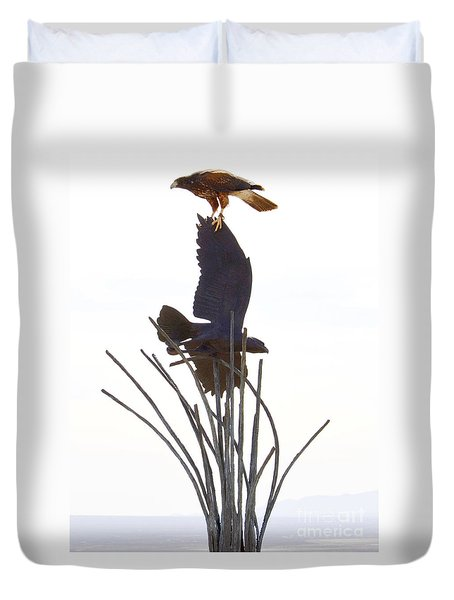 Duvet Cover featuring the photograph Hawk On Statue by Rebecca Margraf