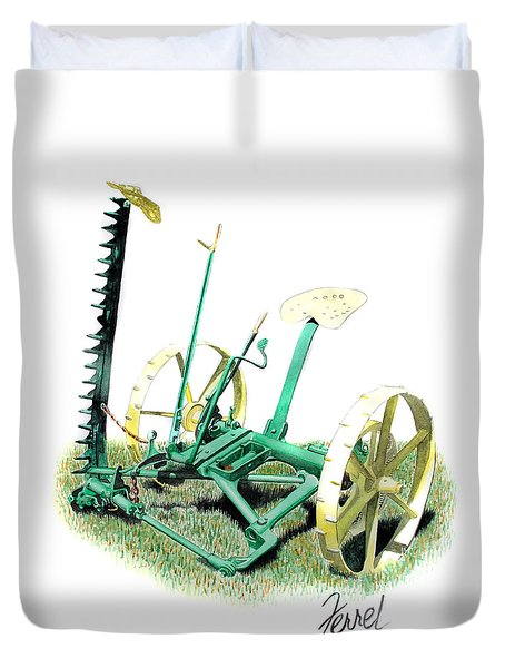Duvet Cover featuring the painting Hay Cutter by Ferrel Cordle
