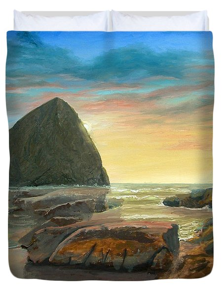 Duvet Cover featuring the painting Haystack Kiwanda Sunset by Chriss Pagani